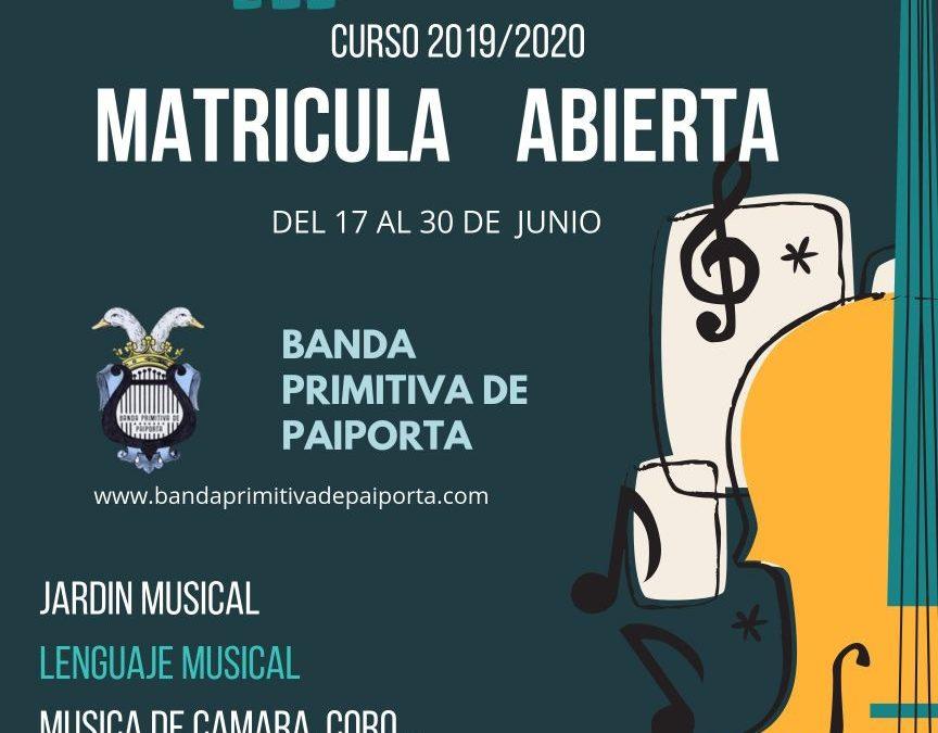 MATRICULA ABIERTA CURSO 2019/2020