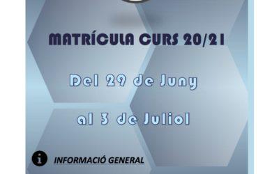 MATRICULA ABIERTA CURSO 2020/2021