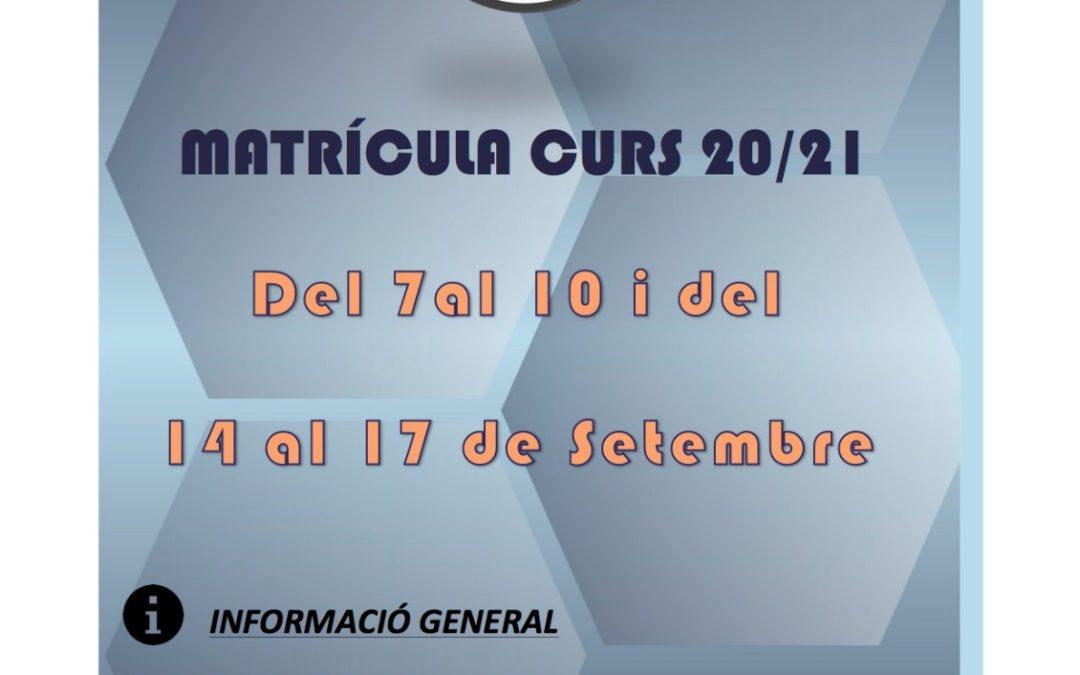 MATRICULA 20/21 COVID19 INFORMACION